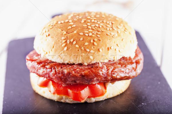 гамбургер сэндвич томатный черный каменные Сток-фото © Koufax73