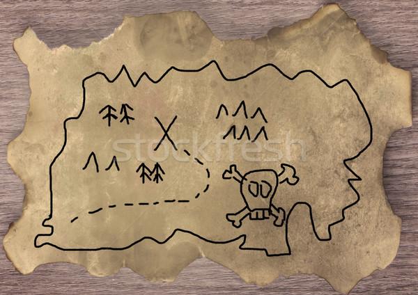 Карта сокровищ стороны старый пергамент горизонтальный изображение деньги Сток-фото © Koufax73
