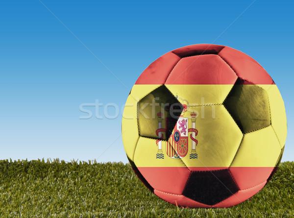 Spaans voetbal gras ingericht spaanse vlag voetbal Stockfoto © Koufax73