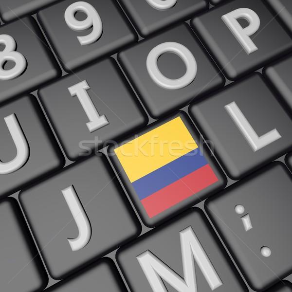 Kolombiya anahtar bayrak klavye 3d render kare Stok fotoğraf © Koufax73