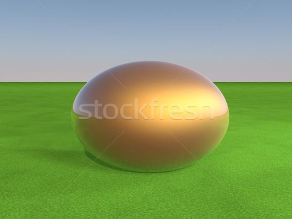Ovo dourado grama verde 3d render páscoa comida multidão Foto stock © Koufax73