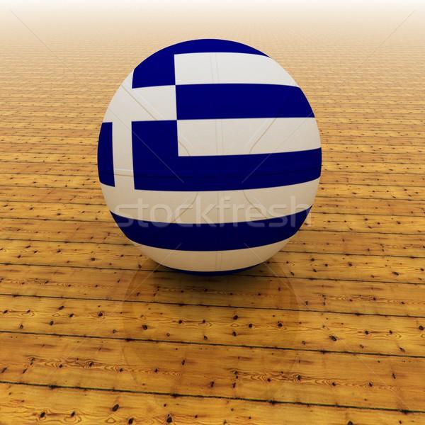 Yunanistan basketbol bayrak 3d render kare görüntü Stok fotoğraf © Koufax73