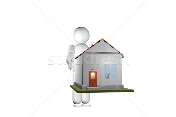 Ev ev eller kukla 3d render adam Stok fotoğraf © Koufax73