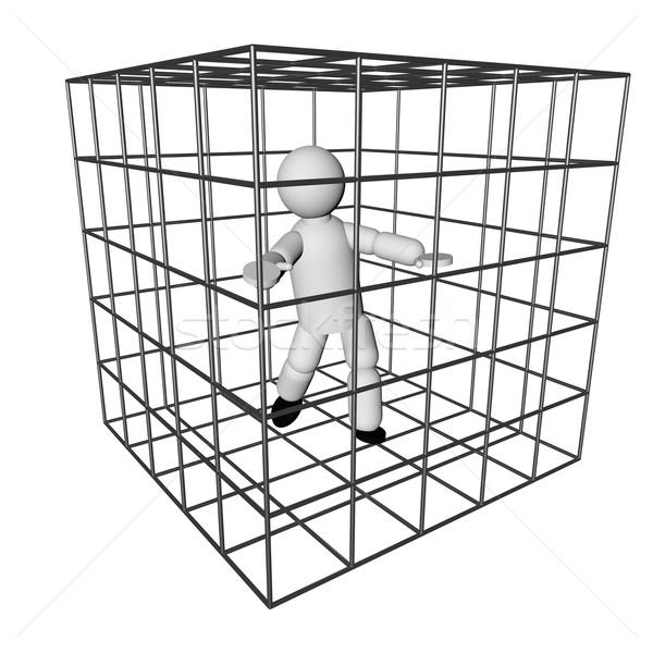 клетке марионеточного изолированный белый 3d визуализации фон Сток-фото © Koufax73
