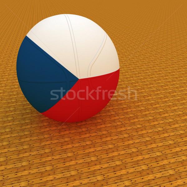 Tchèque basket République tchèque pavillon rendu 3d carré Photo stock © Koufax73