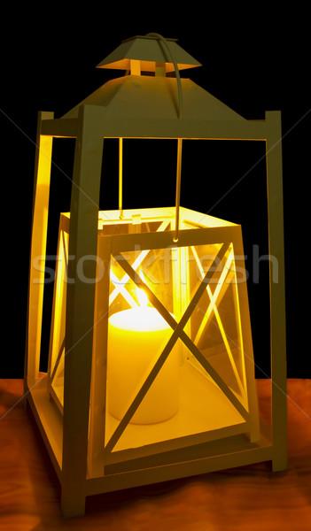 фонарь декоративный белый огня путешествия свечу Сток-фото © Koufax73