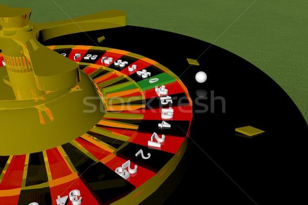 Rulett közelkép zöld 3d render sport asztal Stock fotó © Koufax73