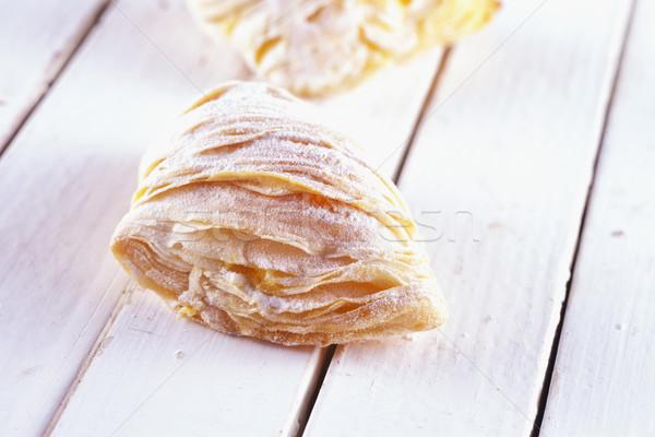 Typowy włoski ciasto biały drewniany stół żywności Zdjęcia stock © Koufax73