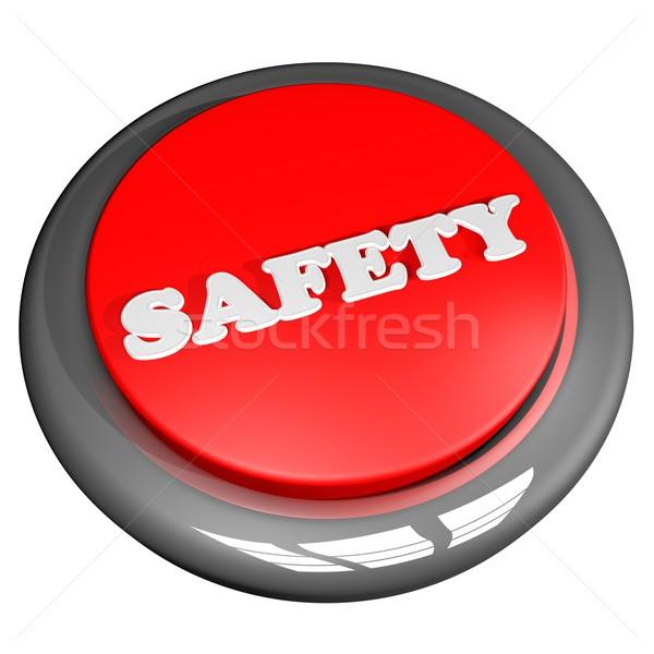 ストックフォト: 安全 · ボタン · 孤立した · 白 · 3dのレンダリング · 作業