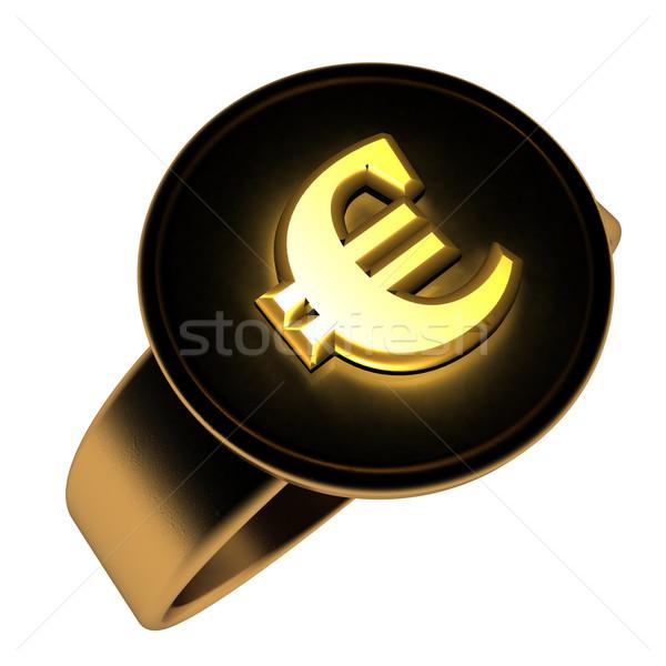 евро кольца символ черный 3d визуализации Сток-фото © Koufax73