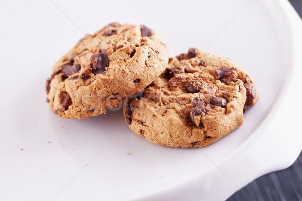 Cookie czekolady biały stoją płytki dziedzinie Zdjęcia stock © Koufax73