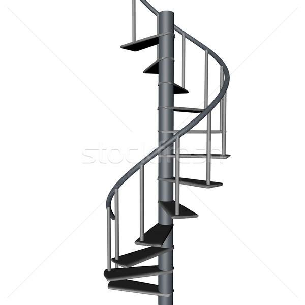 Сток-фото: винтовая · лестница · изолированный · белый · 3d · визуализации · квадратный · изображение