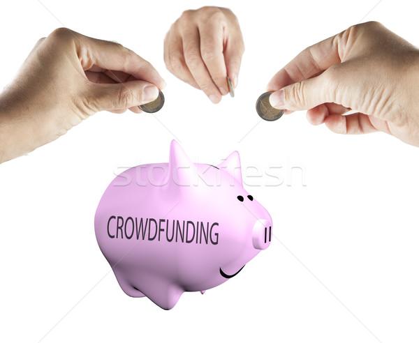 Homme mains argent tirelire mot affaires Photo stock © Koufax73