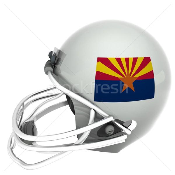 アリゾナ州 サッカー フラグ ヘルメット 3dのレンダリング 孤立した ストックフォト © Koufax73