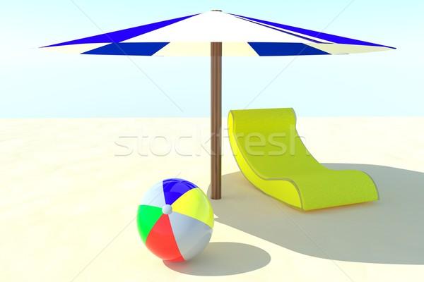 Tengerpart napozószék esernyő labda homok 3d render Stock fotó © Koufax73