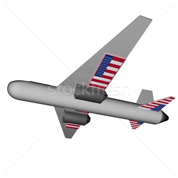 Stockfoto: Vliegtuig · USA · vlag · vleugels · 3d · render · vakantie