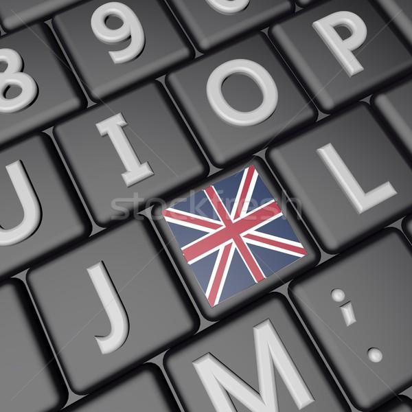 Bayrak anahtar bilgisayar klavye 3d render kare görüntü Stok fotoğraf © Koufax73