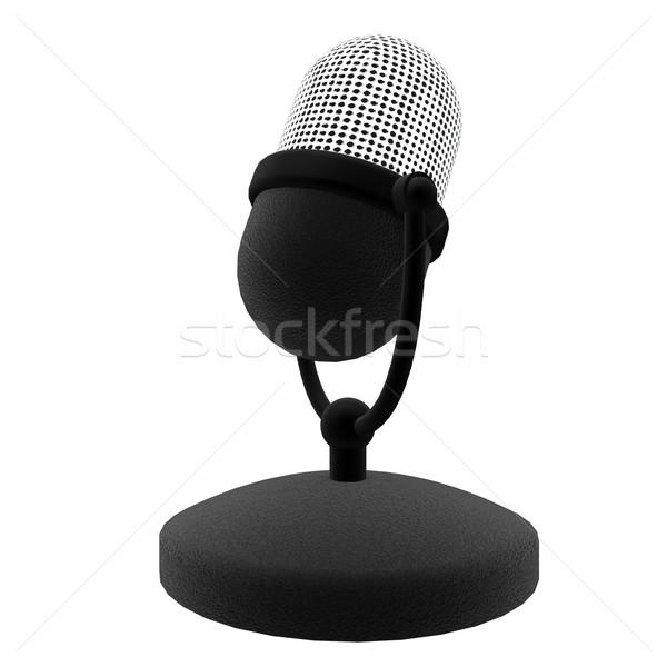 Mikrofon eski stil yalıtılmış beyaz 3d render Stok fotoğraf © Koufax73