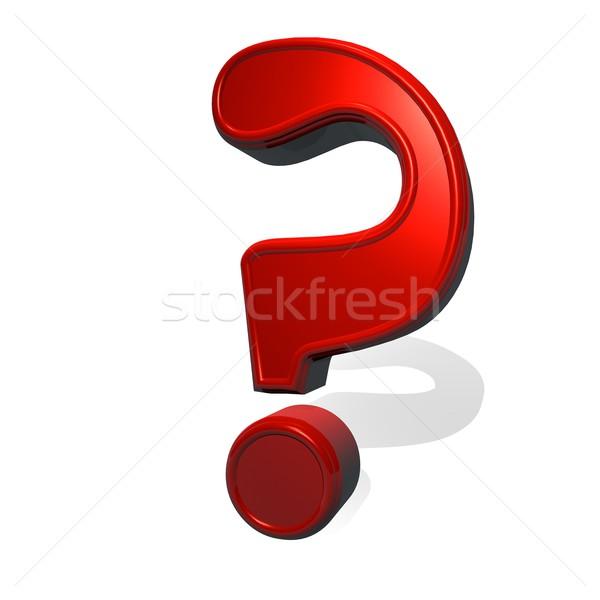 Signo de interrogación signo rojo metal material 3d Foto stock © Koufax73