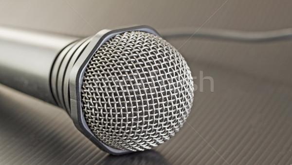Microfoon grijs draad zwarte muziek communicatie Stockfoto © Koufax73