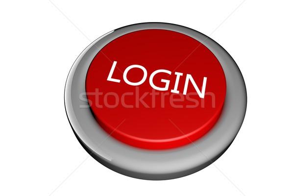 Inloggen Rood knop tekst 3d render web Stockfoto © Koufax73