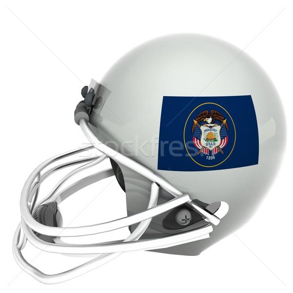 Utah futbol bayrak kask 3d render kare Stok fotoğraf © Koufax73