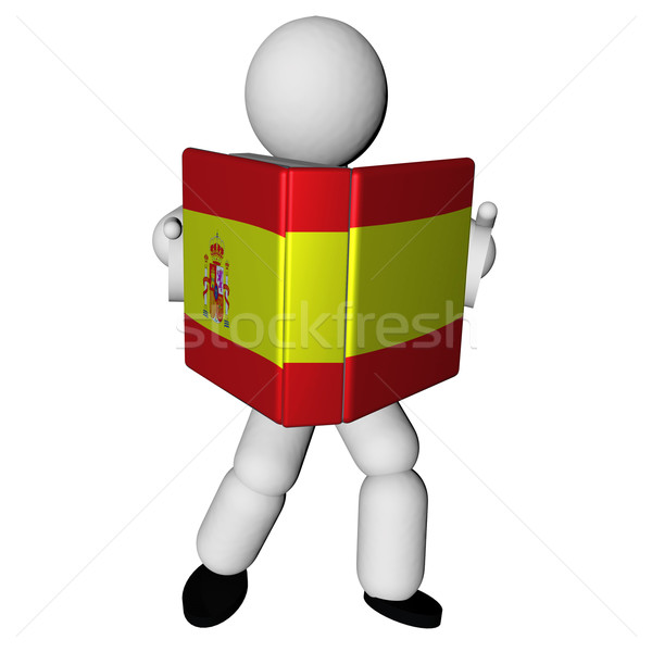 Spaans boek marionet lezing spaanse vlag dekken Stockfoto © Koufax73
