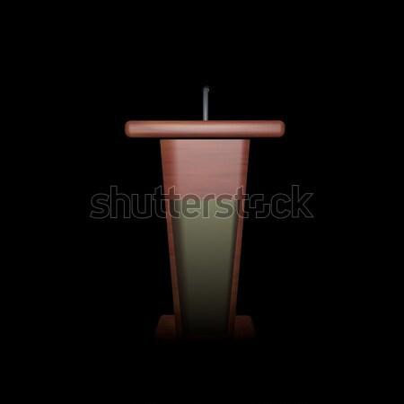 Podium Język ciemności 3d kobieta konferencji Zdjęcia stock © Koufax73