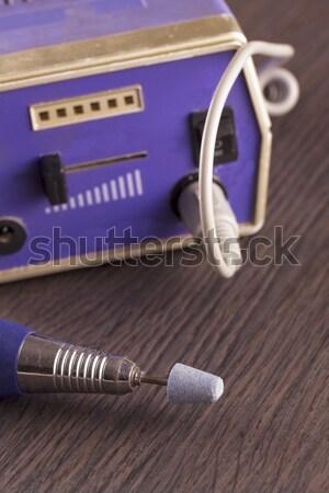 Manicure pedicure elektrische houten vierkante Stockfoto © Koufax73