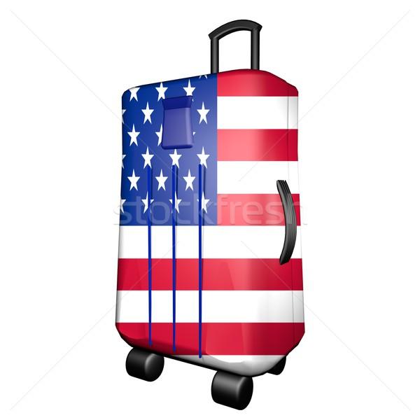 ABD bavul bayrak yalıtılmış beyaz 3d render Stok fotoğraf © Koufax73