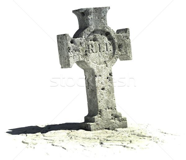 çapraz mezar taşı beyaz imzalamak arka plan Stok fotoğraf © koya79