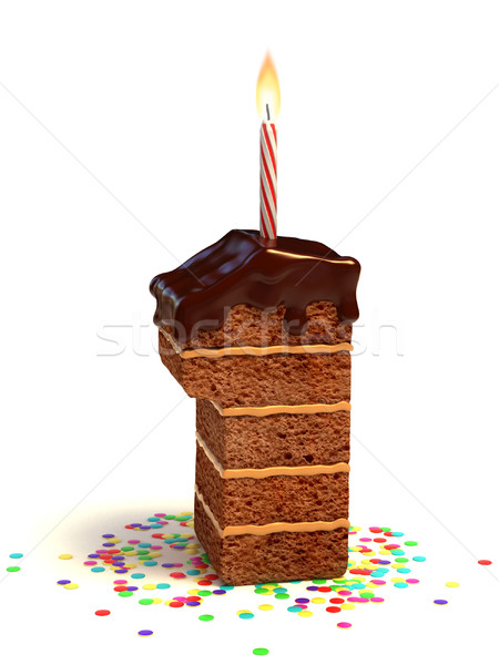 number one shaped birthday cake Stock photo © koya79