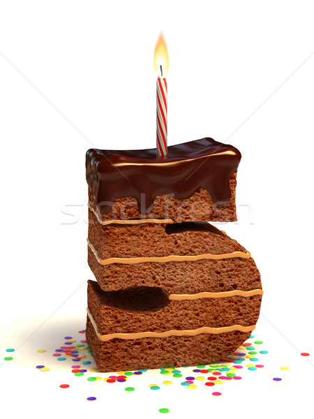 number five shaped birthday cake Stock photo © koya79