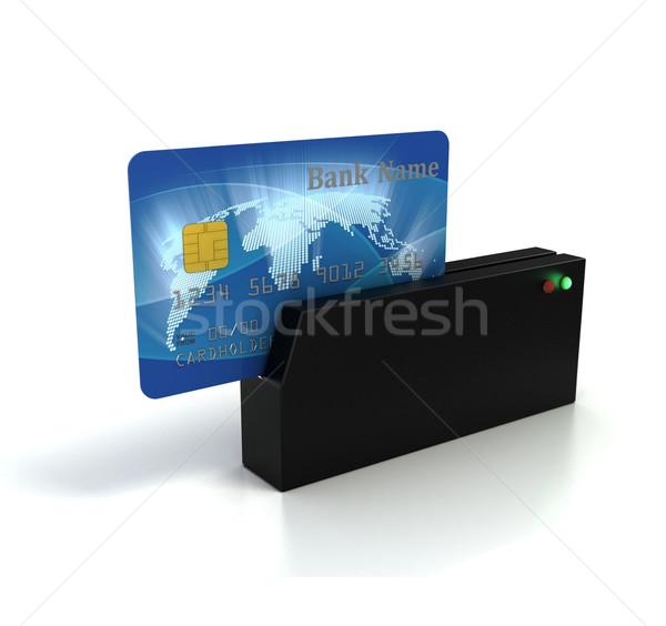 Kredi kartı güvenlik mavi makine depolamak kart Stok fotoğraf © koya79