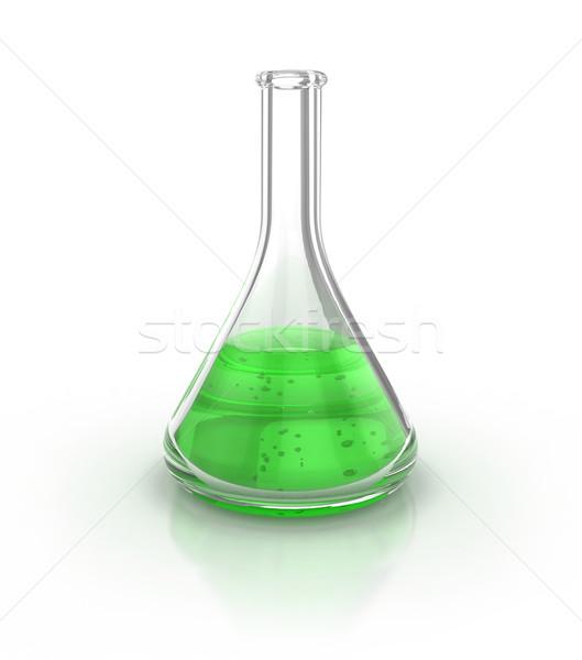 Laboratorio cristalleria verde liquido bianco illustrazione 3d Foto d'archivio © koya79
