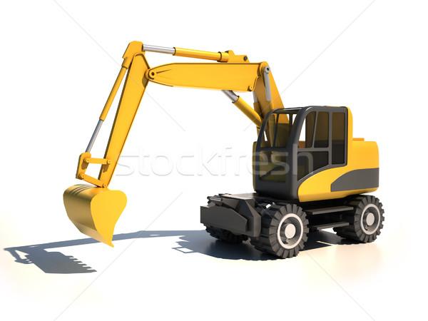 3D ekskavatör inşaat işçi taşıma motor Stok fotoğraf © koya79