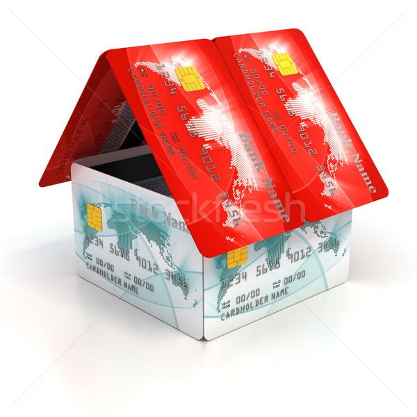 Ev kredi kartları Bina ev alışveriş finanse Stok fotoğraf © koya79