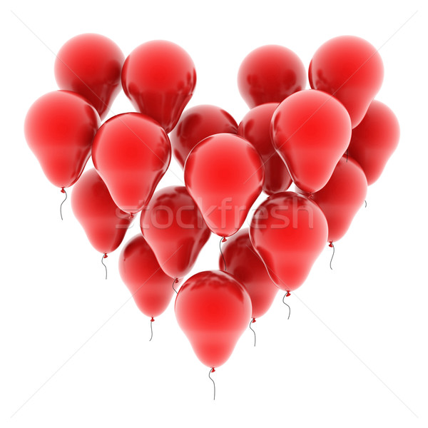 Kalp balonlar yalıtılmış beyaz grup oyuncak Stok fotoğraf © koya79
