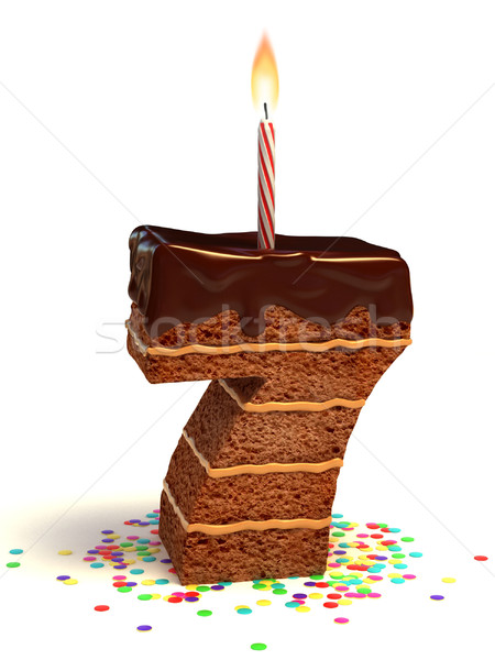 number seven shaped birthday cake Stock photo © koya79