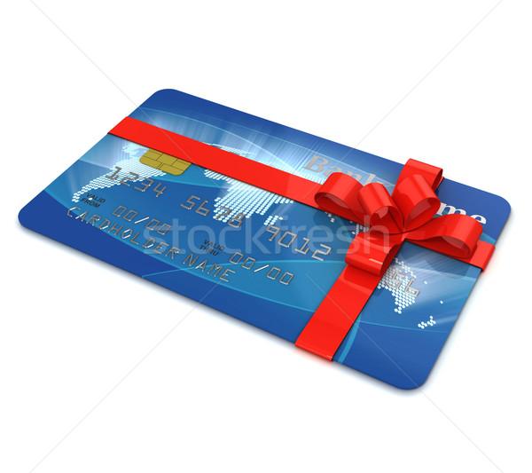 Kredi kartı sunmak dünya teknoloji alışveriş güvenlik Stok fotoğraf © koya79