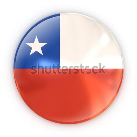 Rozet bayrak Şili seyahat baskı beyaz Stok fotoğraf © koya79