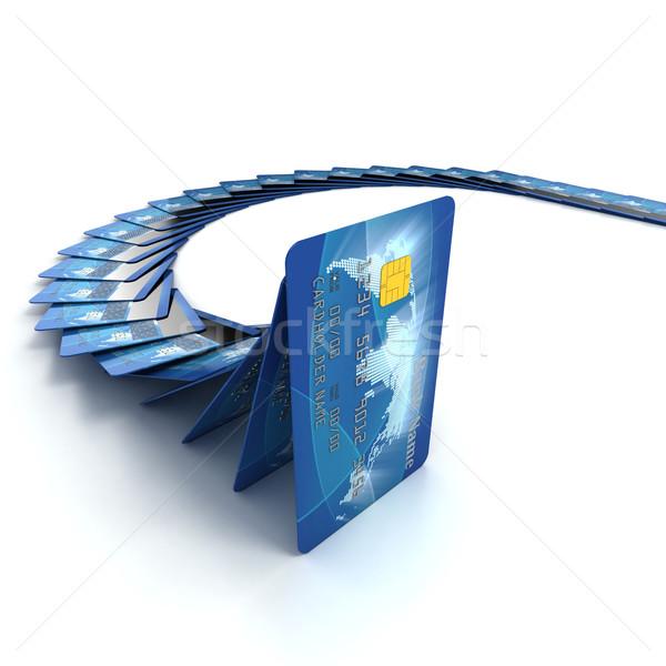 Creditcards vallen 3d illustration wereldbol ontwerp technologie Stockfoto © koya79