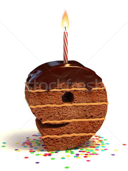 Número nueve pastel de cumpleanos chocolate vela Foto stock © koya79