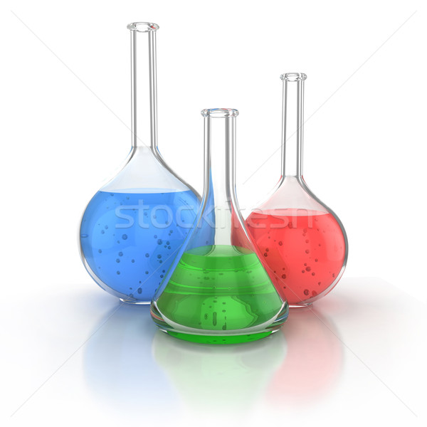 Photo stock: Laboratoire · verrerie · liquide · vert · blanche · 3d · illustration
