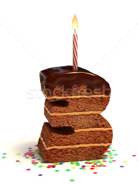 Número três bolo de aniversário chocolate vela Foto stock © koya79