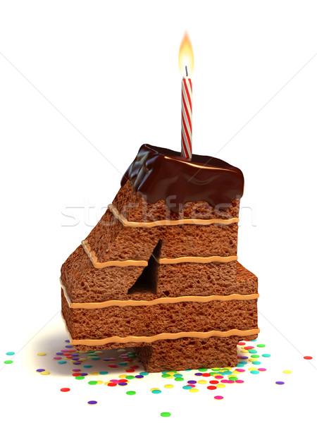 Número quatro bolo de aniversário chocolate vela Foto stock © koya79
