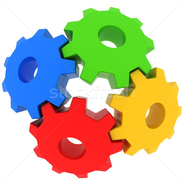 colorful gears 3d illustration Stock photo © koya79