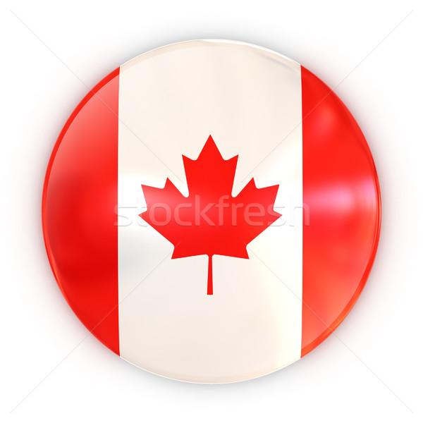 Badge drapeau canadien Voyage pavillon imprimer blanche Photo stock © koya79