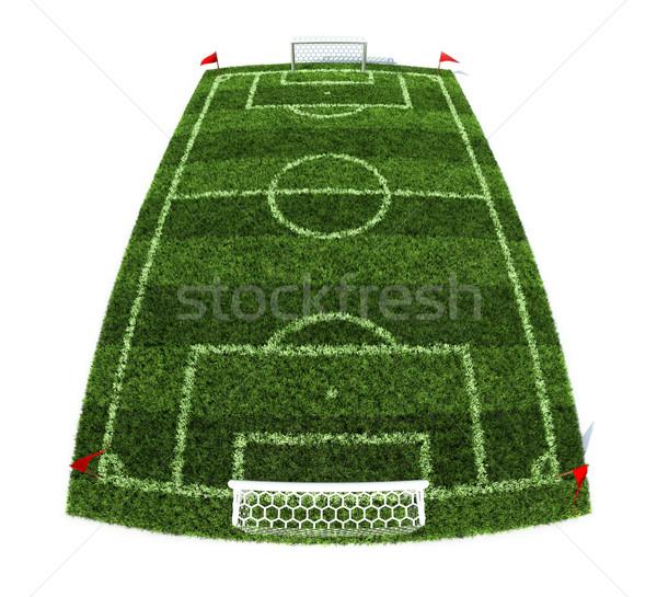 Futbol sahası 3d illustration yalıtılmış beyaz doku bahar Stok fotoğraf © koya79
