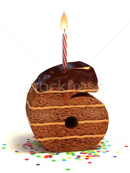 Número seis pastel de cumpleanos chocolate vela Foto stock © koya79